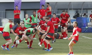 Wales's team work out in front of spectators in Kitakyushu, western Japan