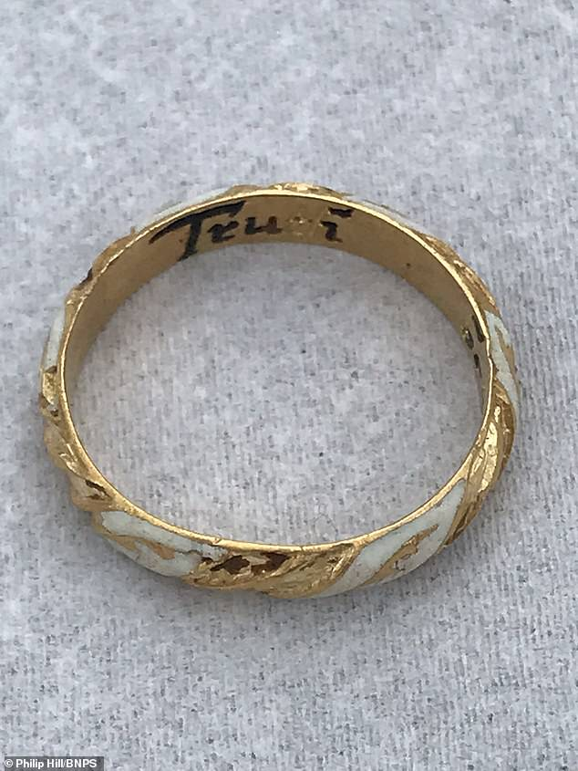 The delicate red and white enamel on the gold ring carries the inscriptionTruth Betrayes Not'.First impressions of the ring were underwhelming, with Ms Kilvert thinking it was simply a discarded children's ring from the modern day