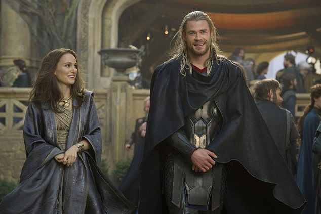 On the payroll: 'I think there's room for all types of cinema,' she said during the event, adding 'There's not one way to make art'; pictured with Chris Hemsworth in 2013's Thor: The Dark World