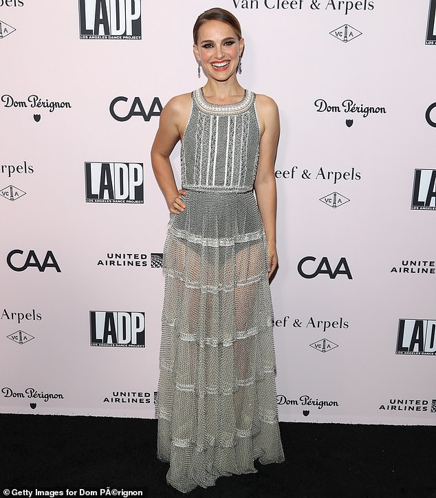 Running defense: Oscar winner Natalie Portman, 38, defended her past and future employer Marvel Studios on Saturday after legendary directors Francis Ford Coppola and Martin Scorsese called them 'despicable' and 'not cinema,' respectively
