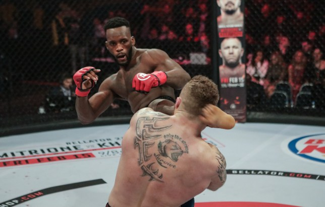Fabian Edwards aims a kick at Lee Chadwick's head during their MMA fight at Bellator Newcastle