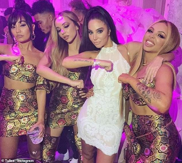 Happy days! Tulisa and Little Mix reunited on Wednesday evening, eight years after she mentored them to success on The X Factor