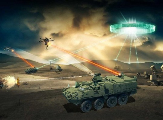 DEATH RAY US Army to test 50-kilowatt laser weapon that incinerates drones, helicopters, planes and missiles Artist impression of Strykers loaded with laser cannons shooting down drones