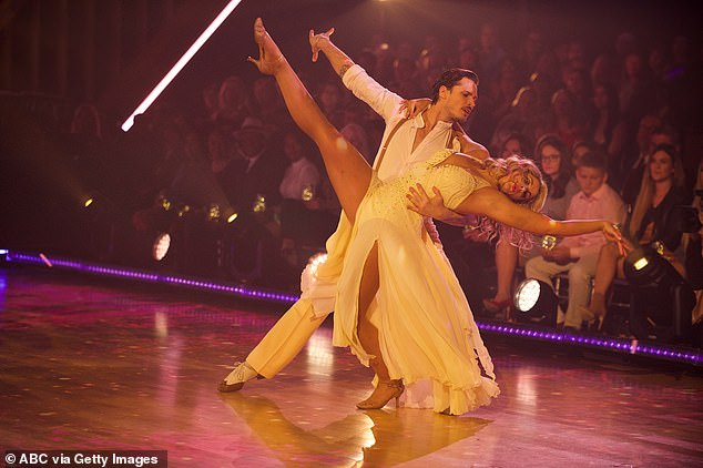 First dance: Lauren and Gleb Savchenko, 36, picked a foxtrot to Dolly Parton's Jolene as their repeat dance, which earned them a standing ovation