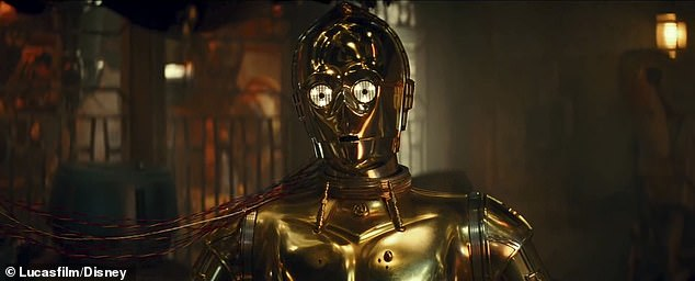 The gold guy shines:This new clip begins with C-3P0 being repaired by a droid