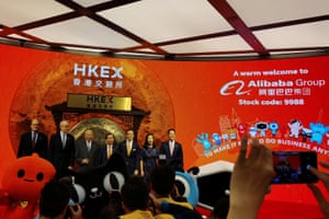 Alibaba's Chairman and Chief Executive Officer Daniel Zhang, Vice Chairman Joseph Tsai and former Hong Kong chief executive Tung Chee-hwa.