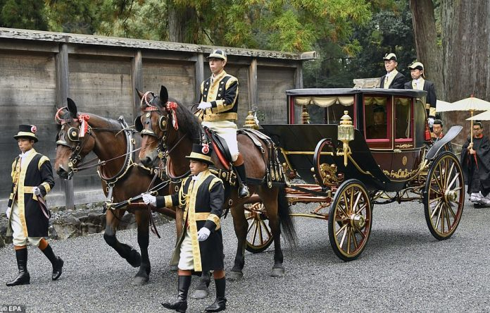 Emperor Naruhito arrived in the same horse drawn carriage as his father the former Emperor Akihito 29 years before him