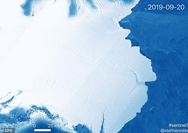 Copernicus Support Office  released this image of iceberg D83 calving away from Amery ice shelf in Antarctica, 20 September 2019