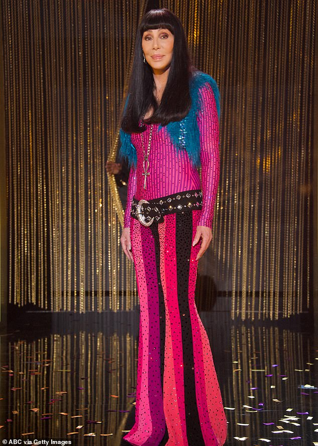 Retro style: The 73-year-old singer wore a funky retro outfit for her performance