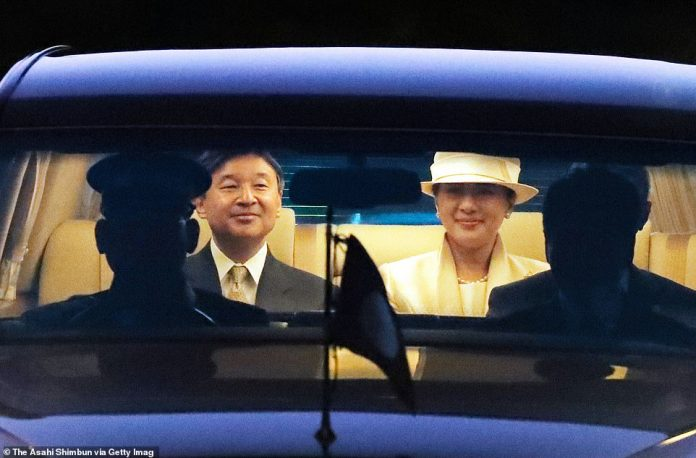 Emperor Naruhito and Empress Masako arrived by rail from Uji Yamada Station to the Ise Shrine yesterday