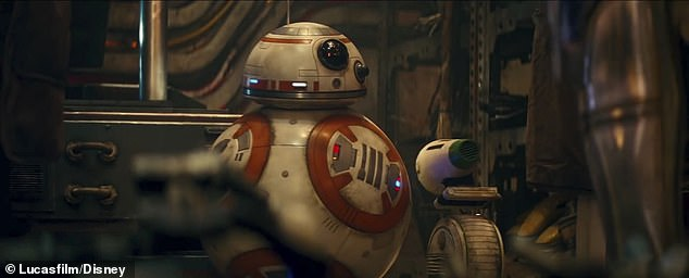 His metal pals were there too: Here are the droids BB-8 and D-O