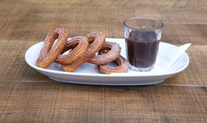'Sad' churros served with ' a jar of separated cocoa and water masquerading as chocolate dipping sauce' at Tapas Revolution, Westfield Stratford, London.