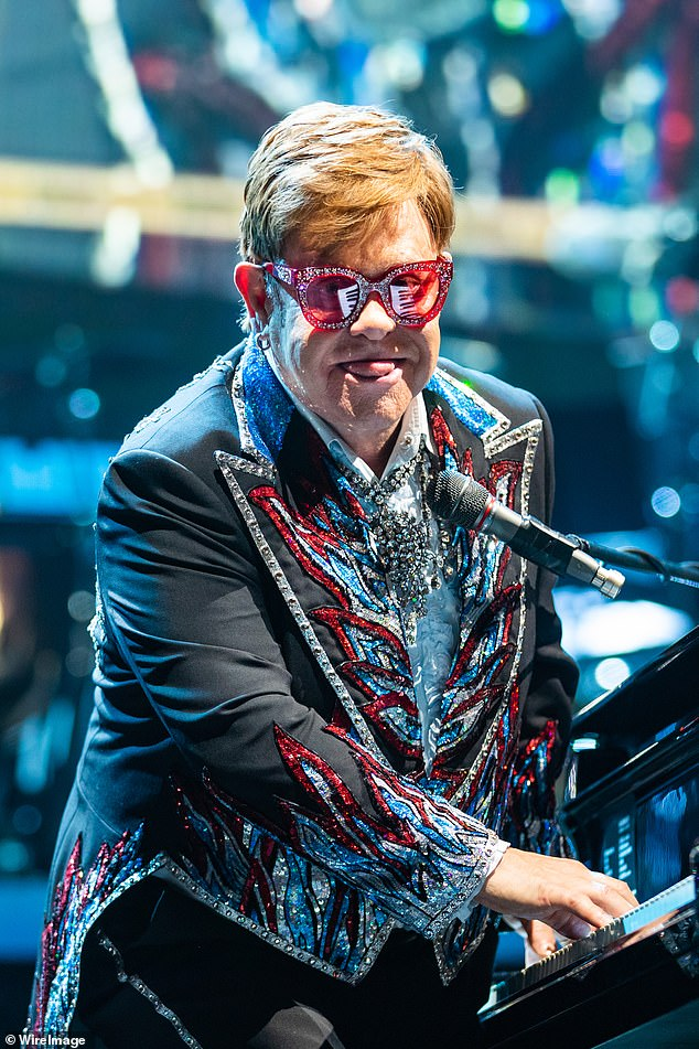 All that glitters! Elton John (pictured) dazzled in diamontes as he continued his Farewell Yellow Brick Road Tour at Rod Laver Arena in Melbourne on Tuesday night