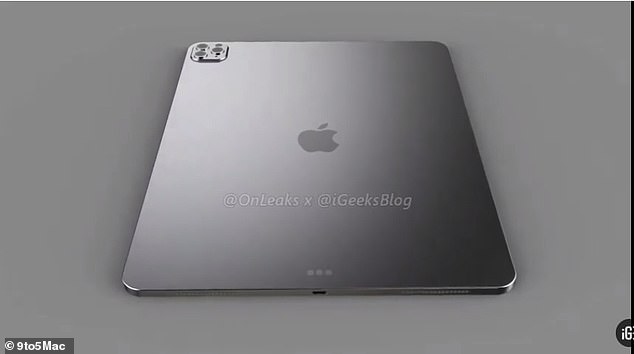 The 11-inch in the video appears to have a metal back, while the 12.9-inch boasts a glass back panel (pictured)¿ the same as the iPhone Pro 11