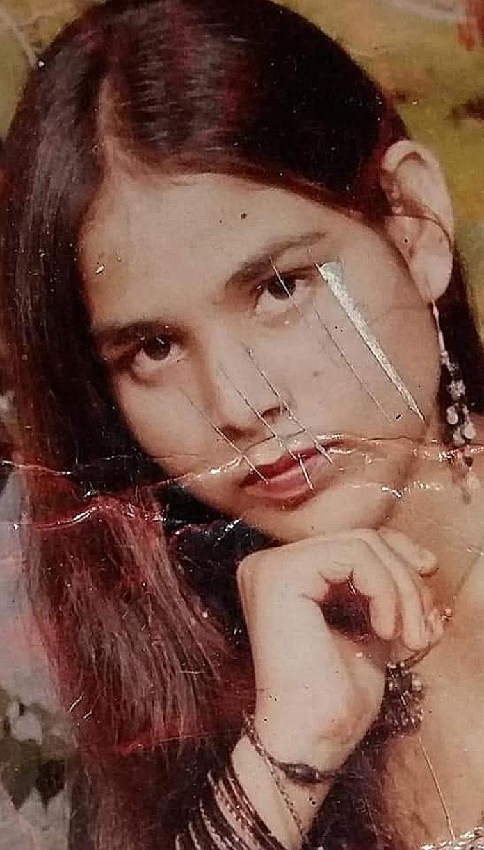Ms Shabnam Alvi today; a photo of her when she was 15; a poster for the Bollywood movie Chhapaak which tells the story of India's acid attack survivors.
