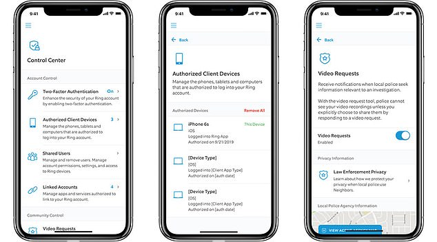 Ring is requiring two-factor authentication on logins after questions over its security and privacy practices that have cropped up over the past several months. Pictured: Ring's new in-app privacy controls