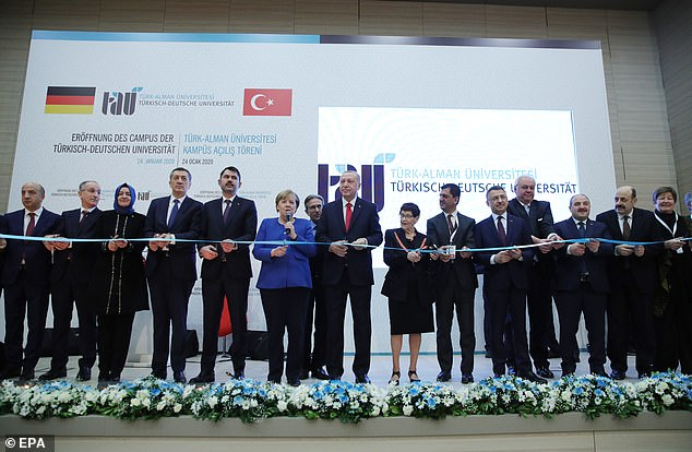 Merkel and Erdogan attended the opening ceremony of a Turkish-German university's new campus on Friday