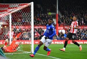 Iheanacho turns away to celebrate his early goal.