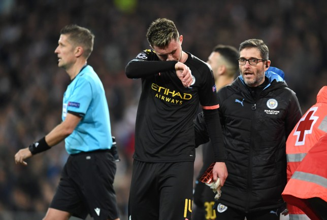Aymeric Laporte was visibly upset as he left the field