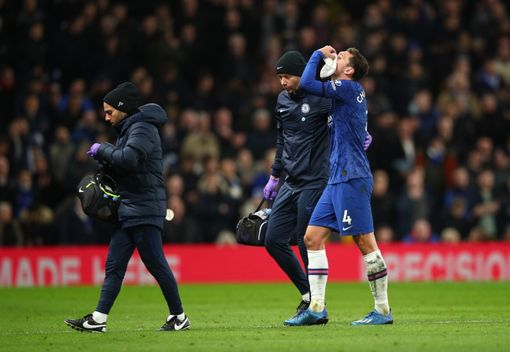 LONDON, ENGLAND - FEBRUARY 17: Andreas Christensen of Chelsea leaves the pitch following an injury during the Premier League match between Chelsea FC and Manchester United at Stamford Bridge on February 17, 2020 in London, United Kingdom. (Photo by Chris Lee - Chelsea FC/Chelsea FC via Getty Images)