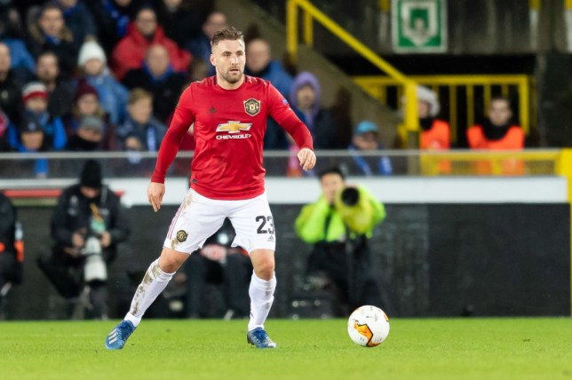 Luke Shaw during Manchester United's Europa League clash with Club Brugge