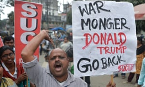 A protest against US president Donald Trump's visit to India in Siliguri
