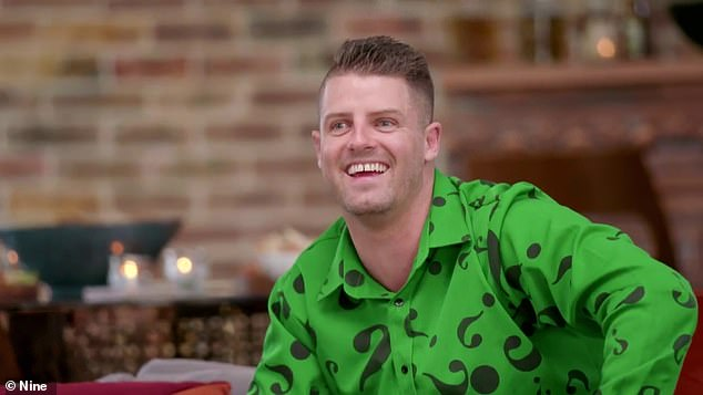 Riddle me MISS: Aleks and Ivan were the first couple to arrive at dinner, followed by David, who for some reason is dressed like The Riddler:'Well that's a shirt,' remarked Mel Schilling