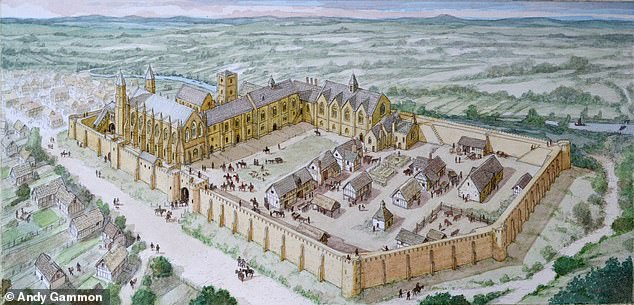 The exact location of the chapel had remained a mystery since it was demolished in the 1650s — despite it having been larger than the king's own chapel in Westminster. Pictured, an artist's impression of Auckland Castle in the 14th Century, with the chapel on the left