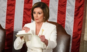 Nancy Pelosi rips a copy of US President Donald Trump's speech after his State of the Union address.