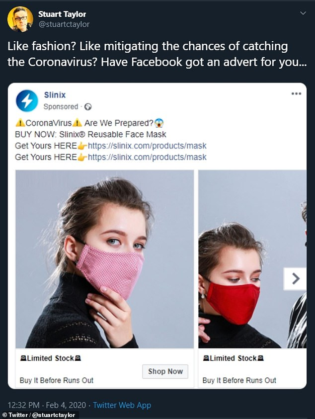 Coronavirus — properly known as COVID-19 — has to date infected around 81,242 people across the globe and resulted in 2,771 deaths. Pictured, a face mask advert from Facebook