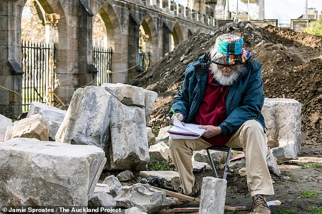 When the researchers resume their excavations, they hope that they will be able to uncover more of the south side of the building. Pictured, archaeologistPeter Ryder takes notes on some of the stonework uncovered at the dig site