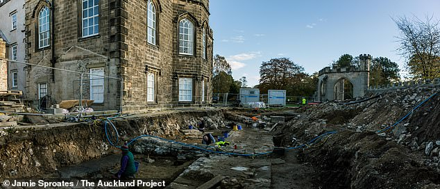 Bishop Bek had the castle itself built up from an existing 12th century manor house to serve as his main residence thanks to its proximity to his hunting estate. Pictured, the dig site by the modern-day castle, which is a Grade I listed historic site
