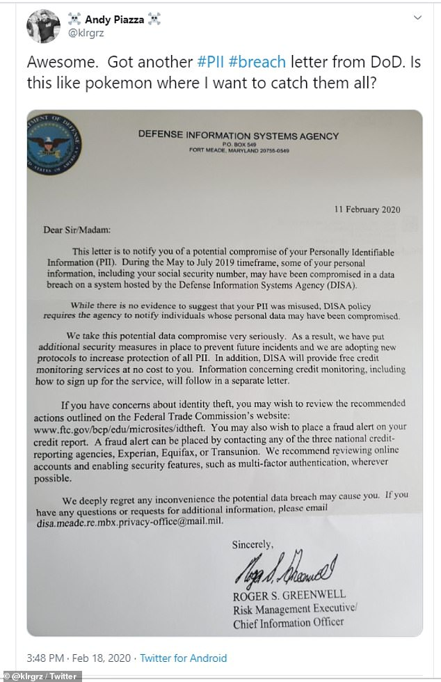 News of the hack began to spread earlier this week, when people began to post pictures of the breach letter they'd received from DISA on Twitter