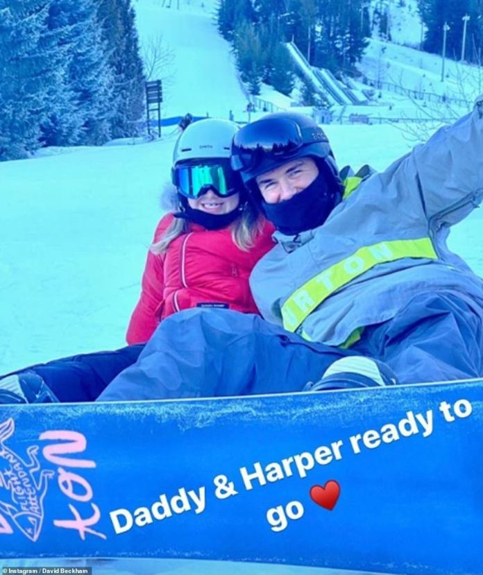 'Daddy & Harper ready to go': The dynamic duo beamed with joy as they enjoyed a brief break from their sporting activity