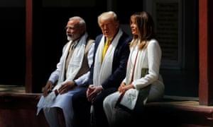 Narendra Modi, Donald Trump and Melania Trump visit the Gandhi Ashram in Ahmedabad