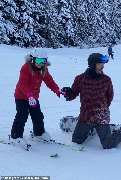 Daddy-daughter time: The Inter Miami CF president appeared in great spirits as he showed their youngest child the ropes of the snowy sport