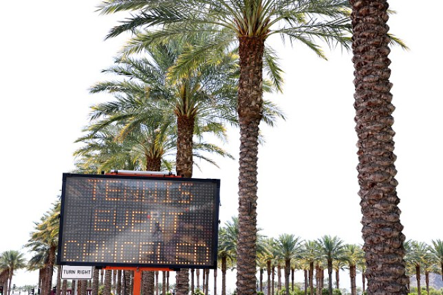 Indian Wells tennis tournament with a 'tennis event cancelled' sign outside after it was called off due to Coronavirus