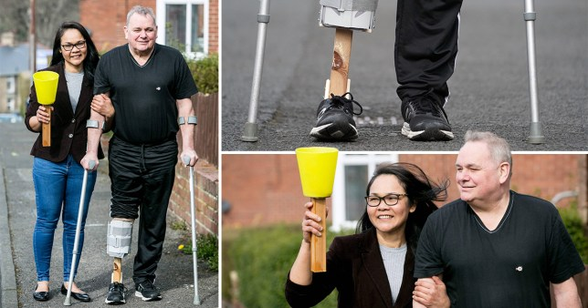 wife made prosthetic leg for husband from items she found in thr shed as coronavirus has delayed fitting at hospital