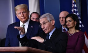 Dr. Anthony Fauci speaks during the daily press briefing on the Coronavirus pandemic situation at the White House on March 17.