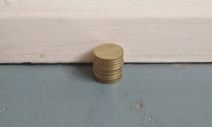 Basciano's recreation of Fernanda Gomes' coin work.