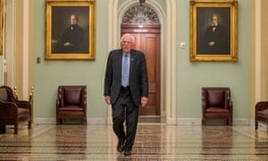 Bernie Sanders outside the Senate chamber in Washington DC on 25 March 2020.