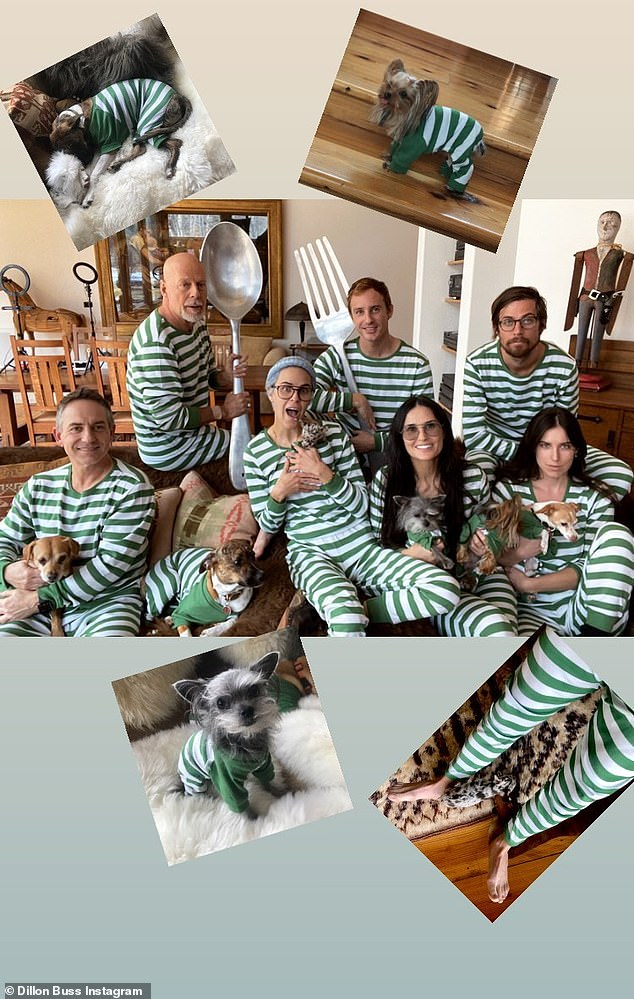 Get together:A second image posted to Dillon's page shows the sisters, joined by Scout's boyfriend Jake Miller, (far right) and Tallulah's boyfriend Dillon Buss (centre) posing with a giant fork and spoon and their pooches