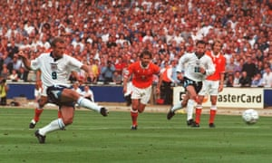 Alan Shearer scores from a penalty against the Netherlands at Wembley.