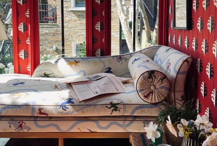 Heuman's daybed, upholstered in their Asteria's Folly Day fabric