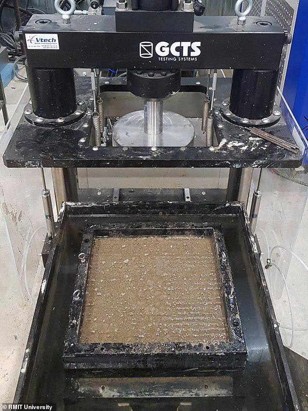 Developed by researchers from Australia, the new road-covering material is the first to combine rubble and rubber (pictured) in a mix optimised to meet road safety standards. The recycled blend, designed to be used for road base layers, has the advantage of being more flexible than standard materials to help stop roads roads from cracking