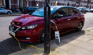 A Nissan Leaf charging on a lamppost in London.