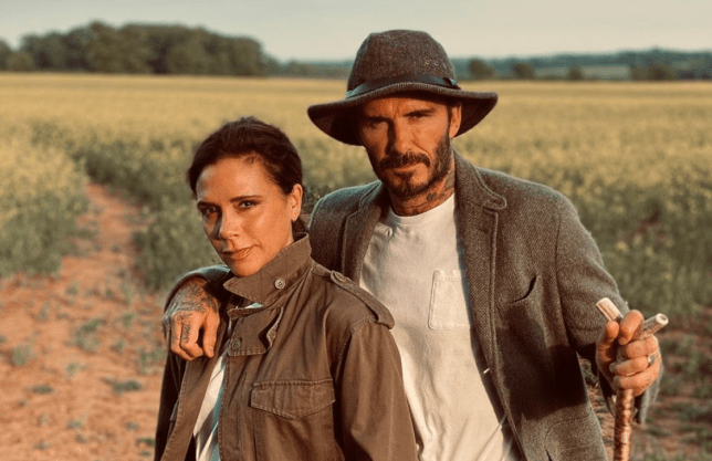 David Beckham and Victoria pictured in the countryside on walk