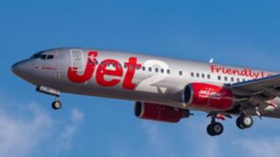A Jet2 aeroplane landing in Tenerife, Spain