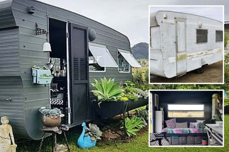 Savvy mum transforms clapped out caravan into chic studio for just £7