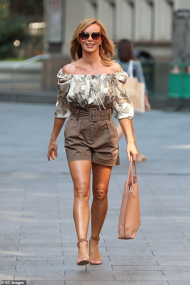 Fashionista: Amanda Holden embraced the late summer heatwave as she stepped out after breaking her silence on BGT's Black Lives Matter controversy on Monday
